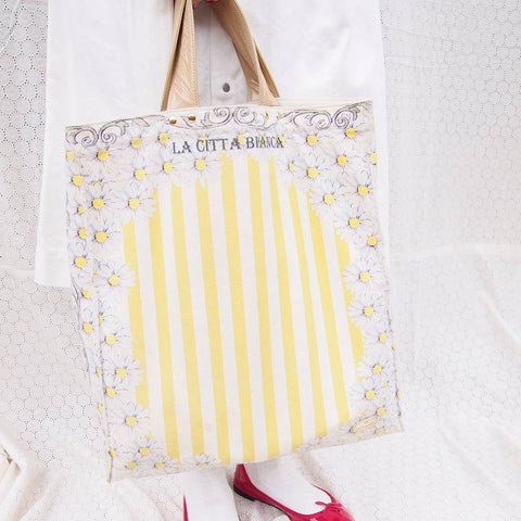 Daisy Border Stripe Canvas Bag