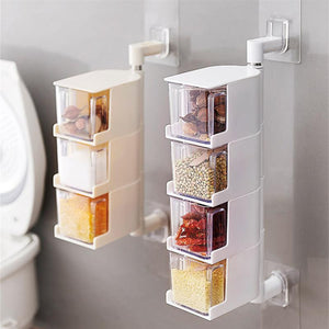 Multi-Tier 360 Degree Rotating Wall Mount Spice Rack Seasoning Storage Box Jars Organizer Condiment Containers Kitchen Tools - waseeh.com