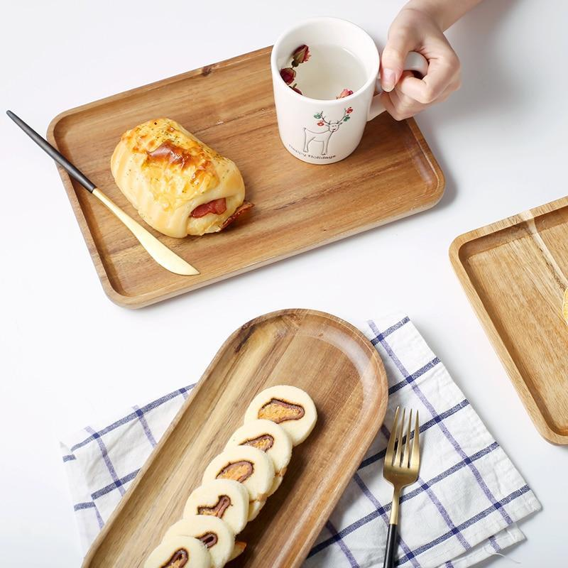 Acacia Wood Tray Wooden Food Party Serving Tray Dinner Plate for Cake Bread Afternoon Tea Heart Dessert Plates Square - waseeh.com