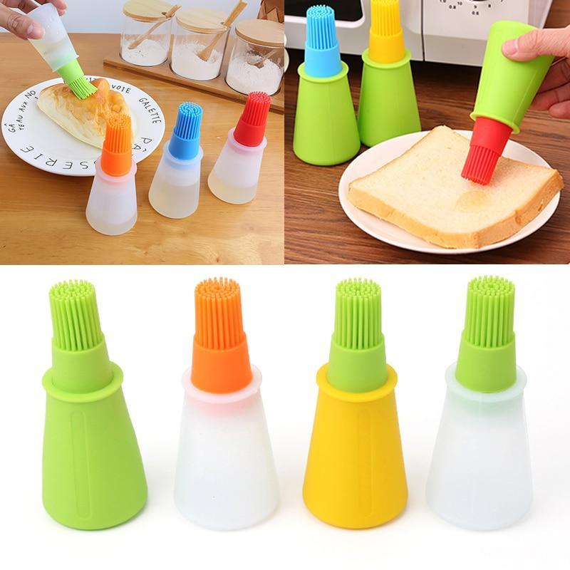 Silicone Oil Bottle Baking Brush Liquid Oil Honey Brushes Barbecue Tool Basting Pancake Kitchen Cooking Accessories - waseeh.com
