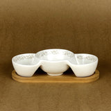 Imperial Serving Dish Set With Bamboo Base - Ceramic - waseeh.com