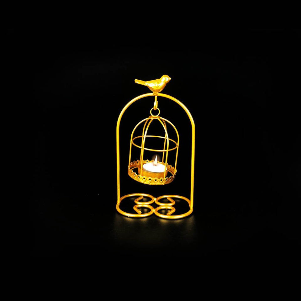 Bird Full Cage Metal Golden Candle Stand with Glass Pot - waseeh.com