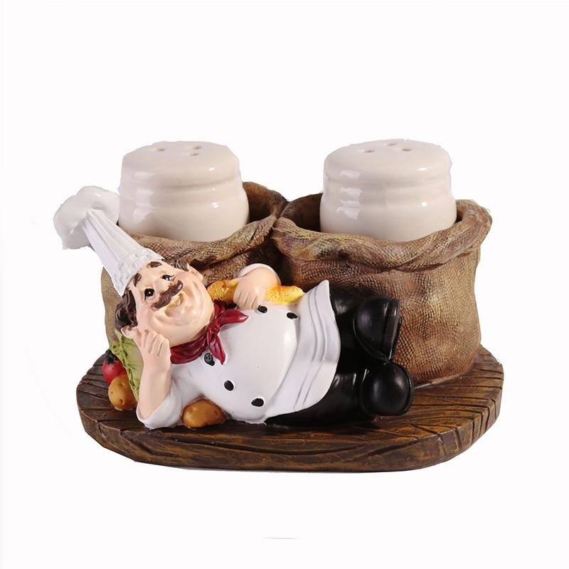 American Style Creative Resin Cook Pepper Salt And Pepper shaker Ornaments kitchen decoration Chef Crafts Gifts - waseeh.com