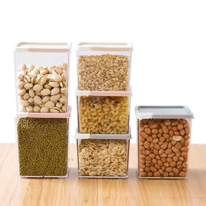 Korean 5pcs Rectangular food storage bottle transparent grains noodles milk moisture-proof powder jar storage box organizer tank - waseeh.com