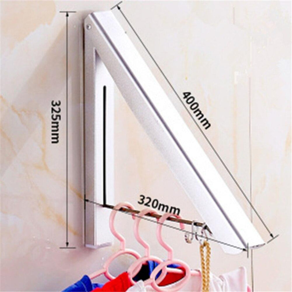 Aluminum Wall Mounted Solid Double Clothes Drying Hanger Foldable Laundry Drying Rack Bathroom Balcony Clothes Hanger Anti-Rust - waseeh.com