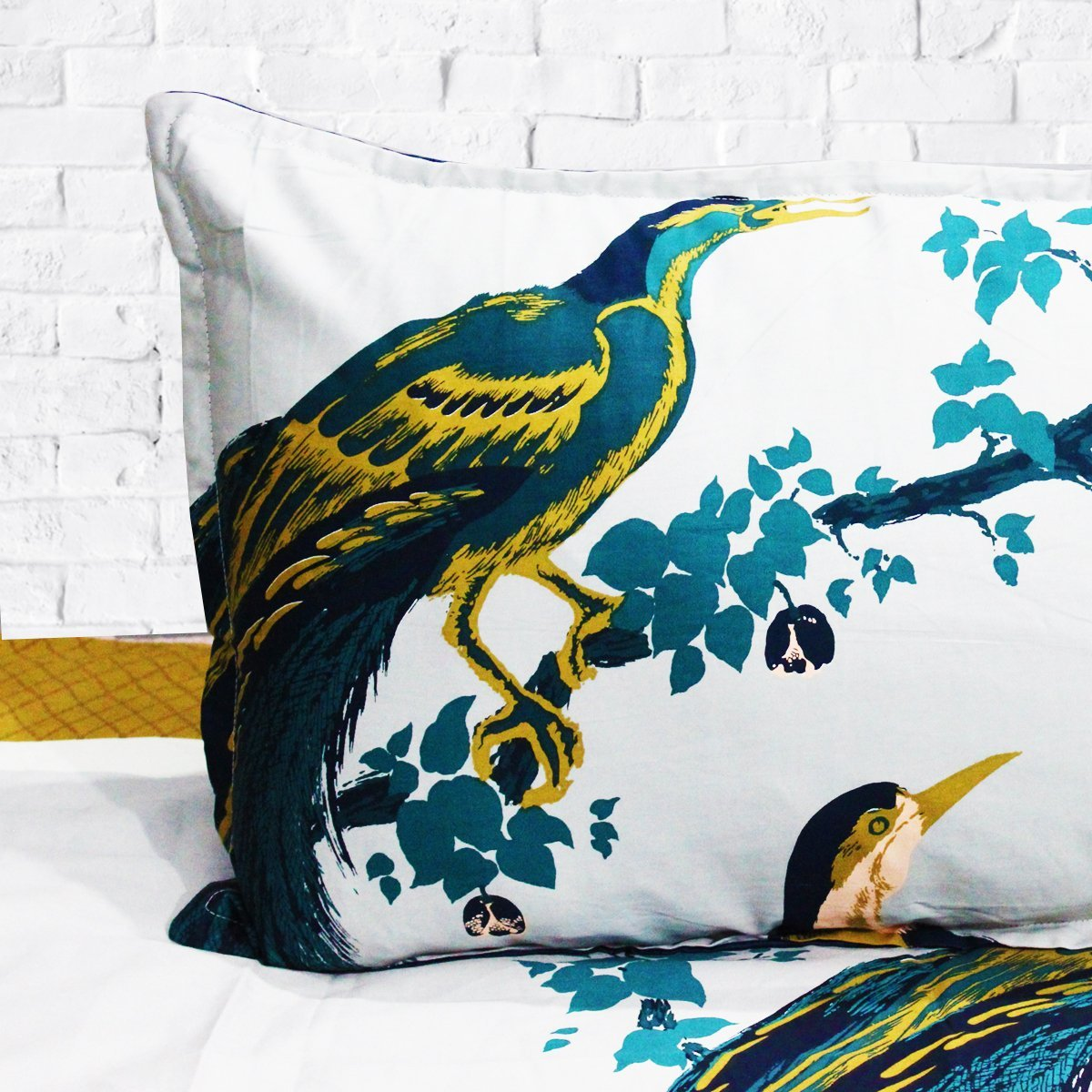 Peacock - Cotton Satin Bed Sheet With 2 Pillow cases - waseeh.com