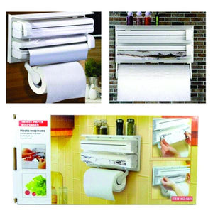 Kitchen Roll Towel Paper Holder Dispenser Cling Film Wall Mounted Shelf Rack Towel Rack Bathroom Accessories Shelf Organizer - waseeh.com