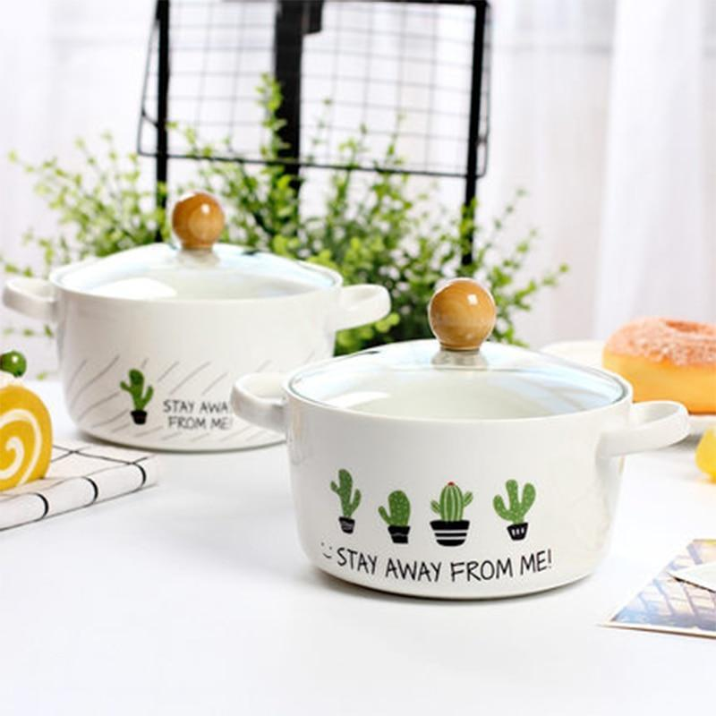 Cartoon Cactus Creative Ceramic Bowl Double Ear Anti-scalding Soup Bowl Korean Style Large Capacity Noodle Bowl - waseeh.com