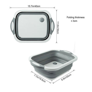 Multifunction Folding Cutting Board Kitchen Plastic Mildew Board Washing Basket Cutting Board - waseeh.com