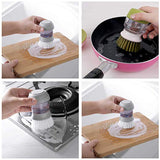 Cleaning Brush Automatic Liquid Non-stick oil Washing Dish Brush Pan Pot Bowl Brush Kitchen Cleaning Tools Scrubber With Base - waseeh.com