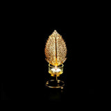 Leaf Metal Golden Candle Stand with Glass Pot - waseeh.com