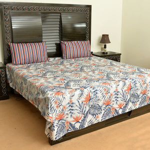 Palm Leaves cotton bed sheet with 2 pillow cases - waseeh.com