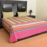funky cotton bed sheet with 2 pillow cases - waseeh.com