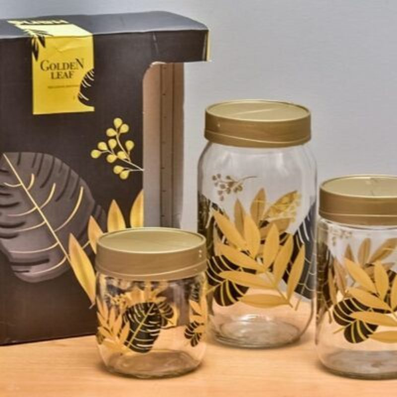 Hane Jar Set (Golden Leaf 3 piece) - waseeh.com