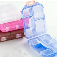 Portable Medicine Drug Pill Box 10 Compartments Translucent Pill Storage Case Folding Double-Deck Pill Organizer Box Pocket - waseeh.com