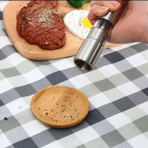 Thumb push manual salt pepper mill silver stainless manual steel - waseeh.com