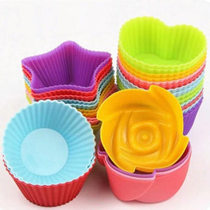 6pcs Muffin Cake Mold Heart star Flower round shape Cupcake cup Heat Resistant Nonstick Silicone Soap mould Reusable Baking tool - waseeh.com