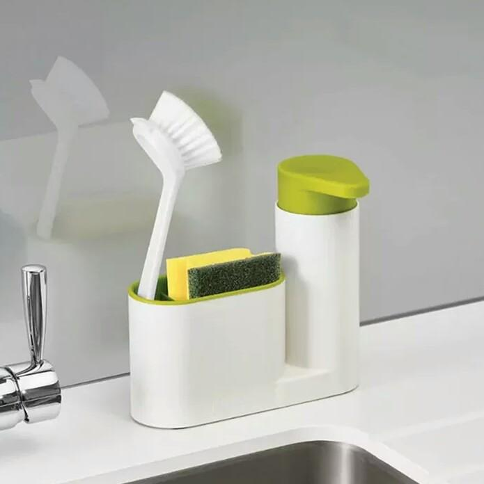 2 in 1 Multifunctional Kitchen Storage Compartment Washing Sponge Brush Sink Detergent Soap Dispenser Bottle Kitchen Gadgets - waseeh.com