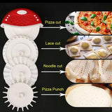 Multifunctional Dough Preparation Set Tool Pizza Cutter Cutting Wheel Grooved Wheel Home Bakeware Stainless Steel Pizza Knife Pizza Tools - waseeh.com