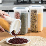 4 in 1 Plastic transparent kitchen grain storage tank 4-grid cereal crisper rice oatmeal dry food with sealed lid - waseeh.com
