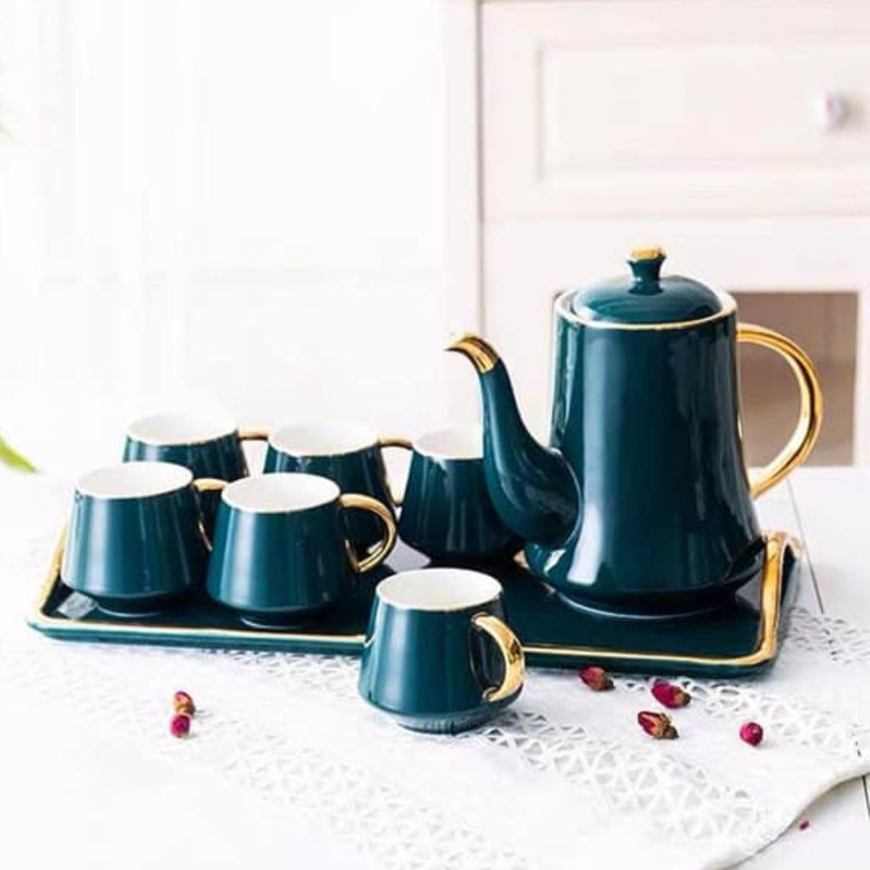 Ceramic Teapot with Tea Cups and Tray - waseeh.com