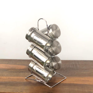 6pcs stainless steel spice jar -silver - waseeh.com
