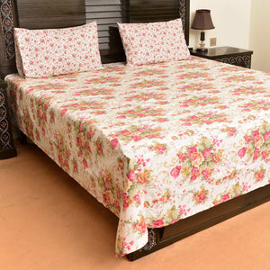 Elegant floral cotton bed sheet with 2 pillow case - waseeh.com