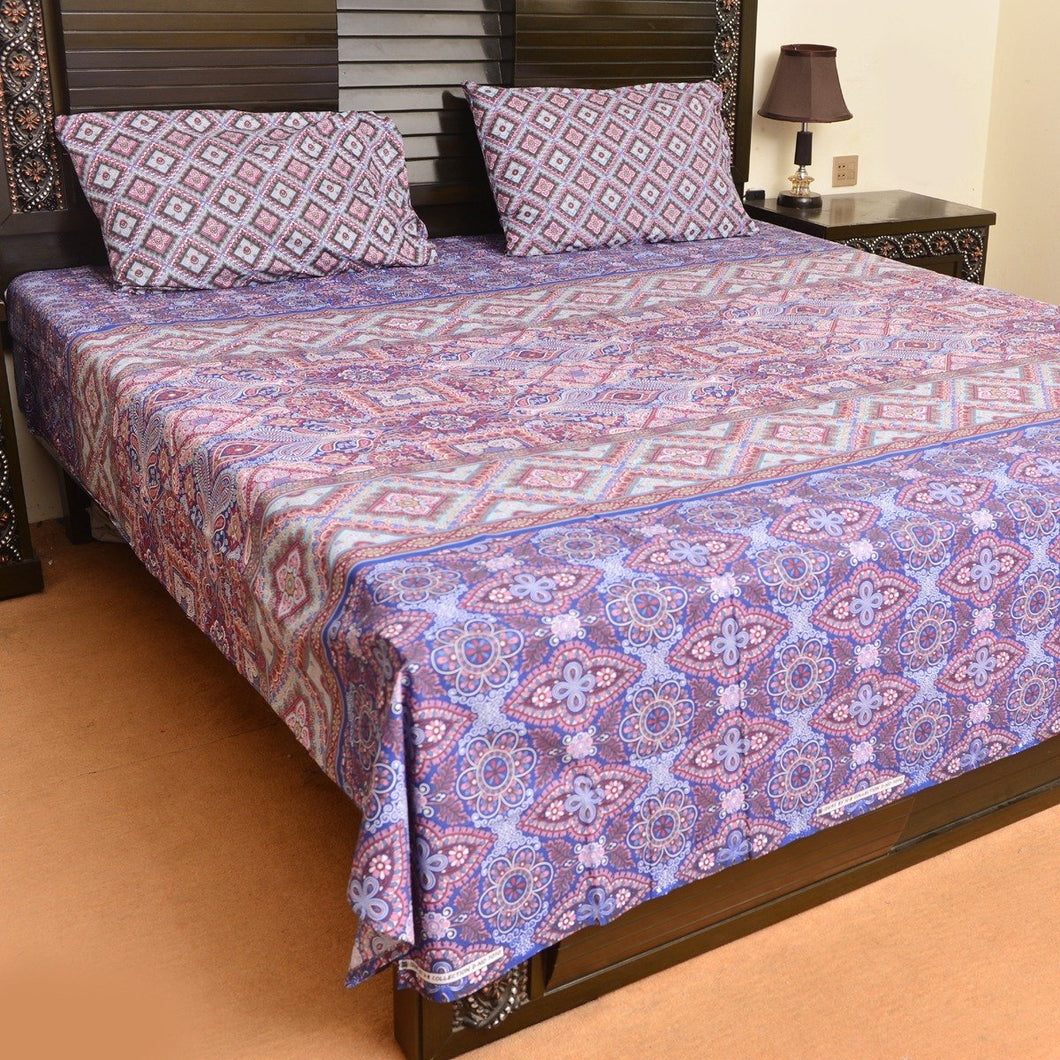 Purple punch cotton bed sheet with 2 pillow cases - waseeh.com