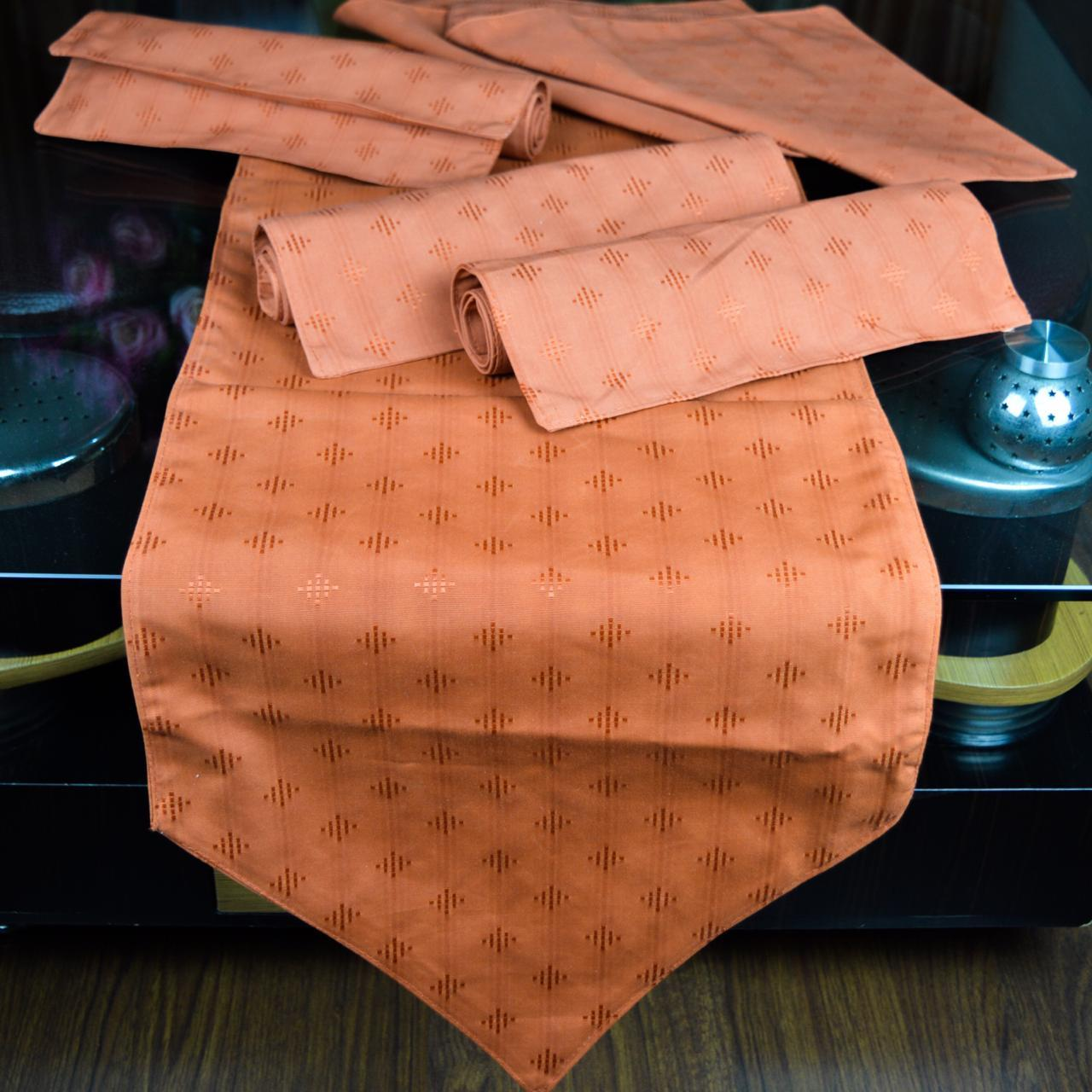 Orange Cotton table runner 7 PCS -printed - waseeh.com