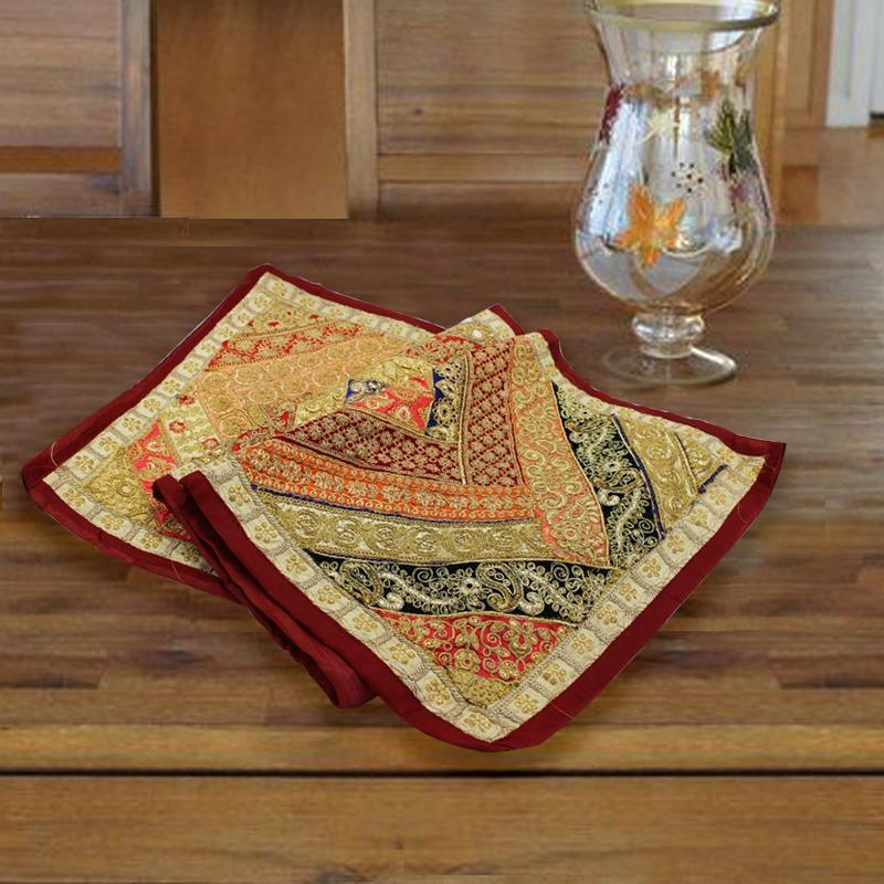 Brown border embroided table runner-1pc - waseeh.com