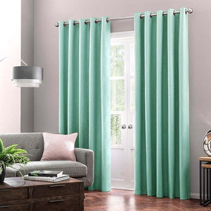 Ready Made Cotton Duck Plain Curtains with Lining & Stainless Steel Eyelet 8 Feet Length - waseeh.com