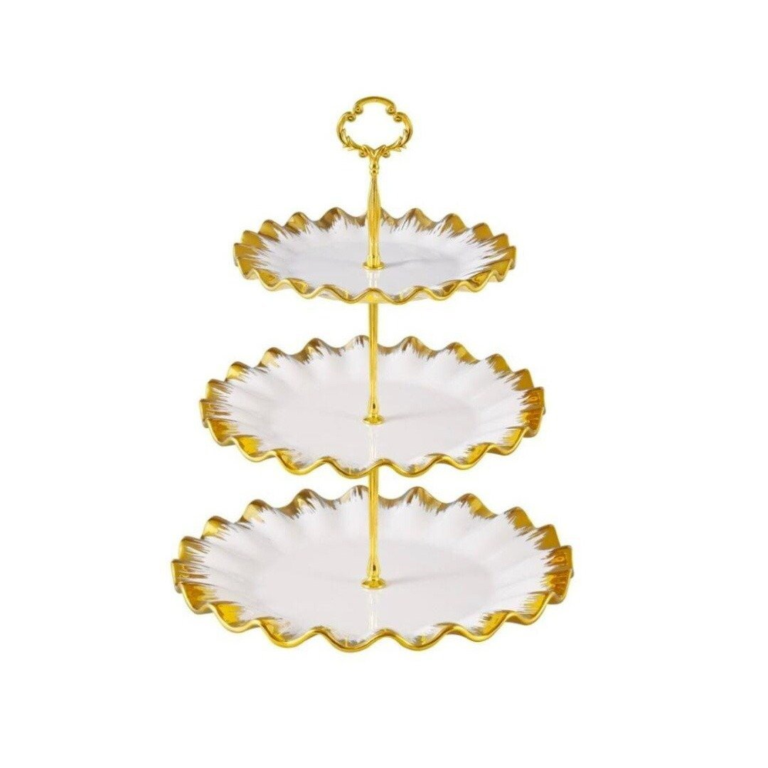 3 Portion Cupcake plate with golden borders - waseeh.com