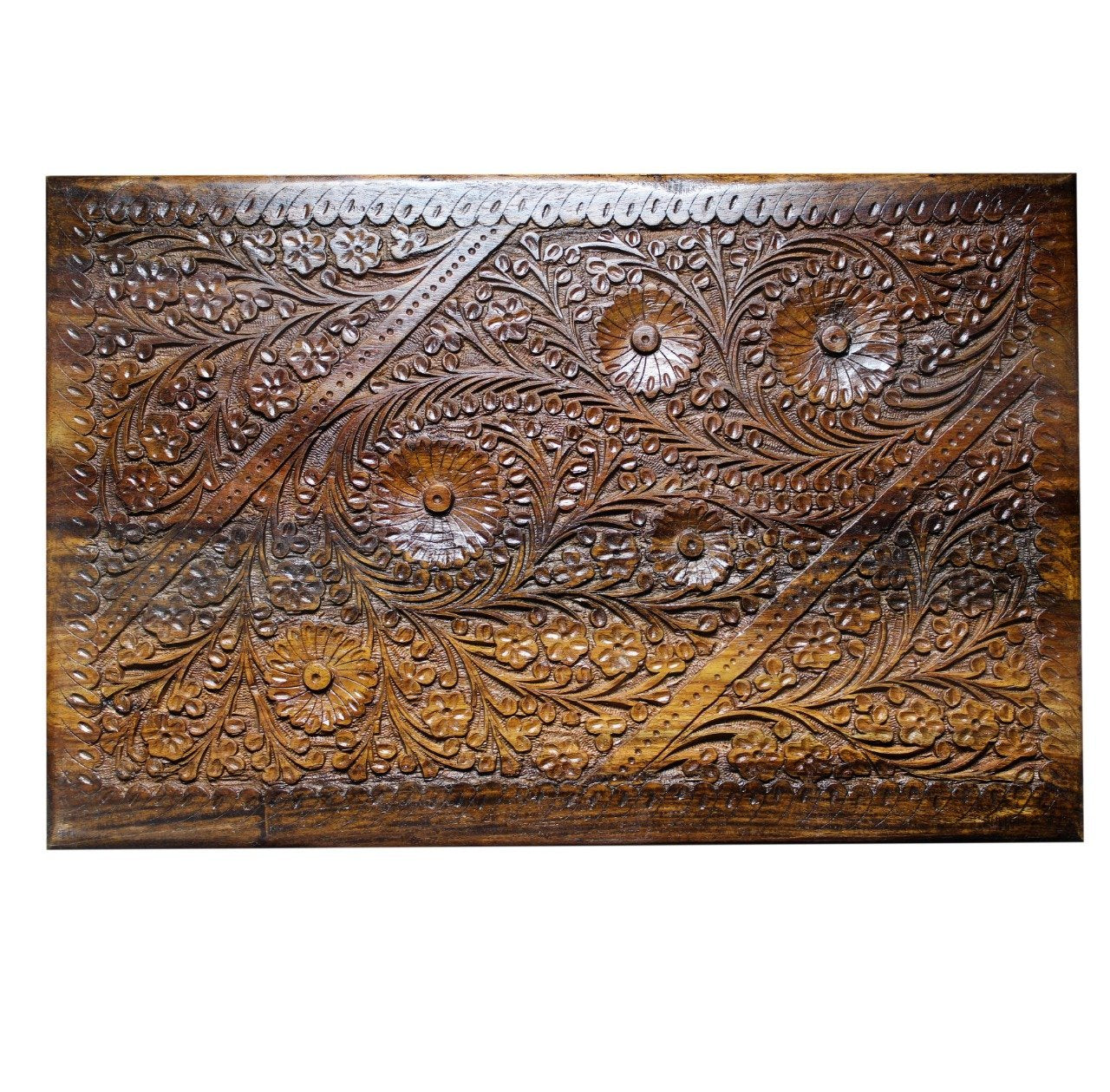 "Wooden Hand Made Jewellery Box - Extra Large - Carved - 18"" x 12"" - waseeh.com"