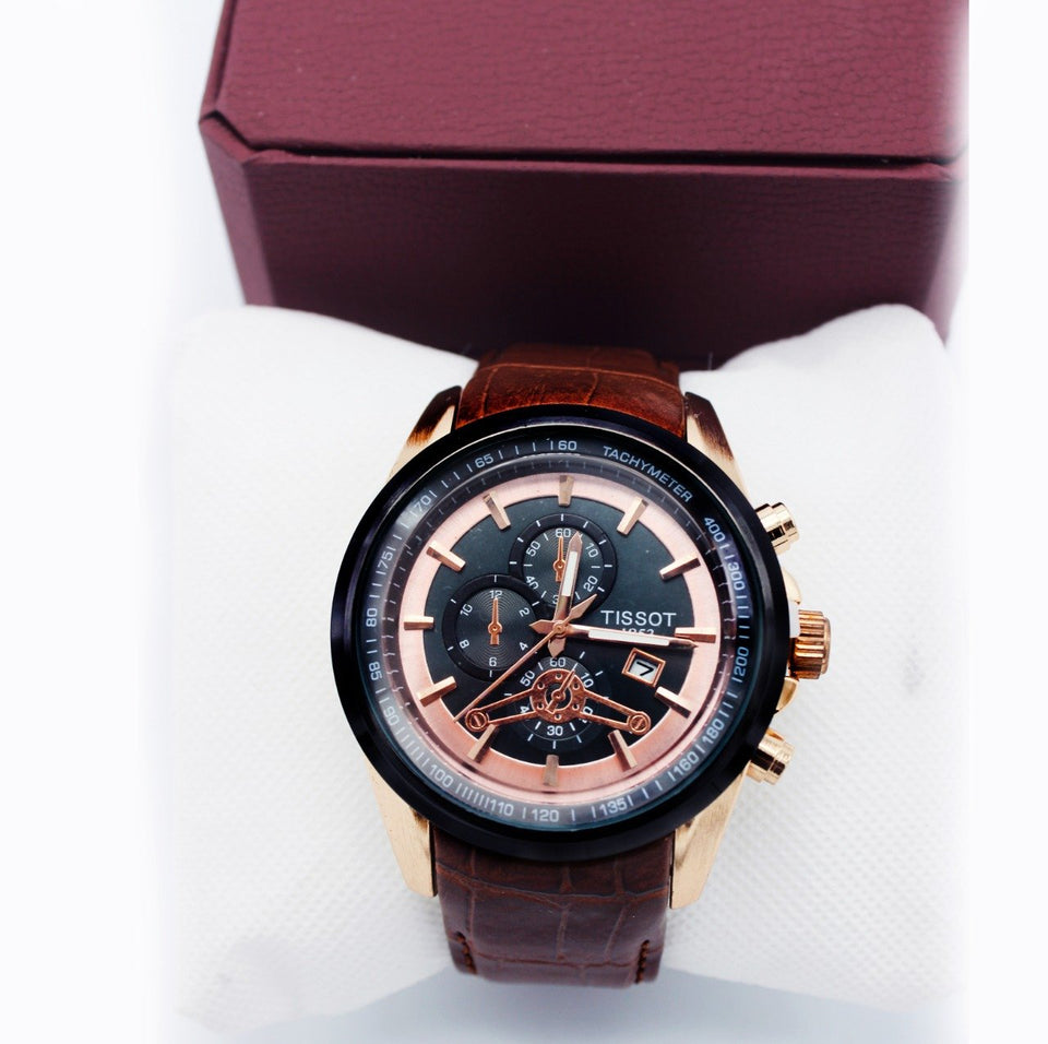 Tissot Brown Leather Watch - waseeh.com
