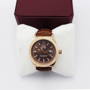 Rolex Leather - Brown Strap Watch for Men - waseeh.com