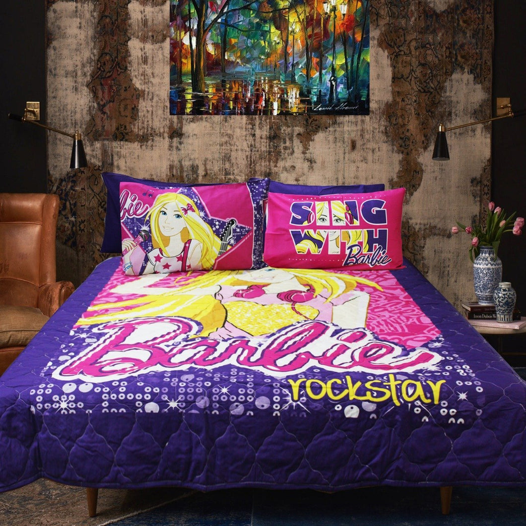 Barbie Rocker -Cotton Quality Bed Spread Set - 6 pcs - waseeh.com