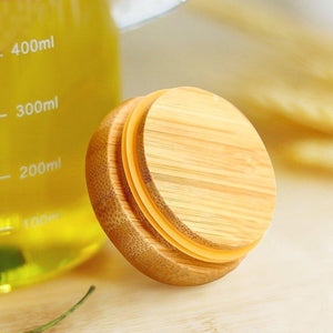 Borosilicate Glass Oil Jug - 1000 ML with BPA free Wooden Lid - waseeh.com