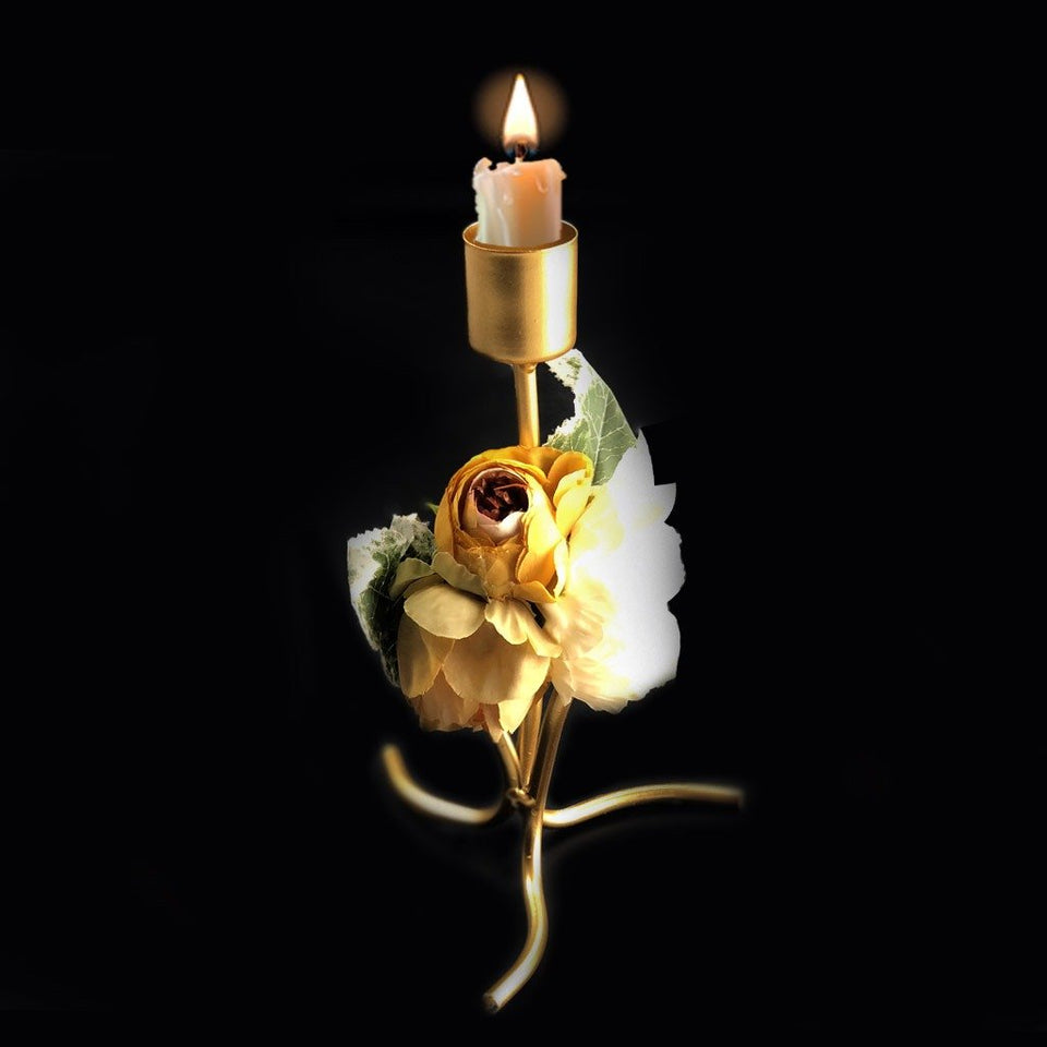 Golden Candle Stand With Flower - waseeh.com