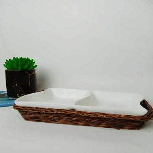 Snack Plate with Braided Basket (Rectangle Shaped)