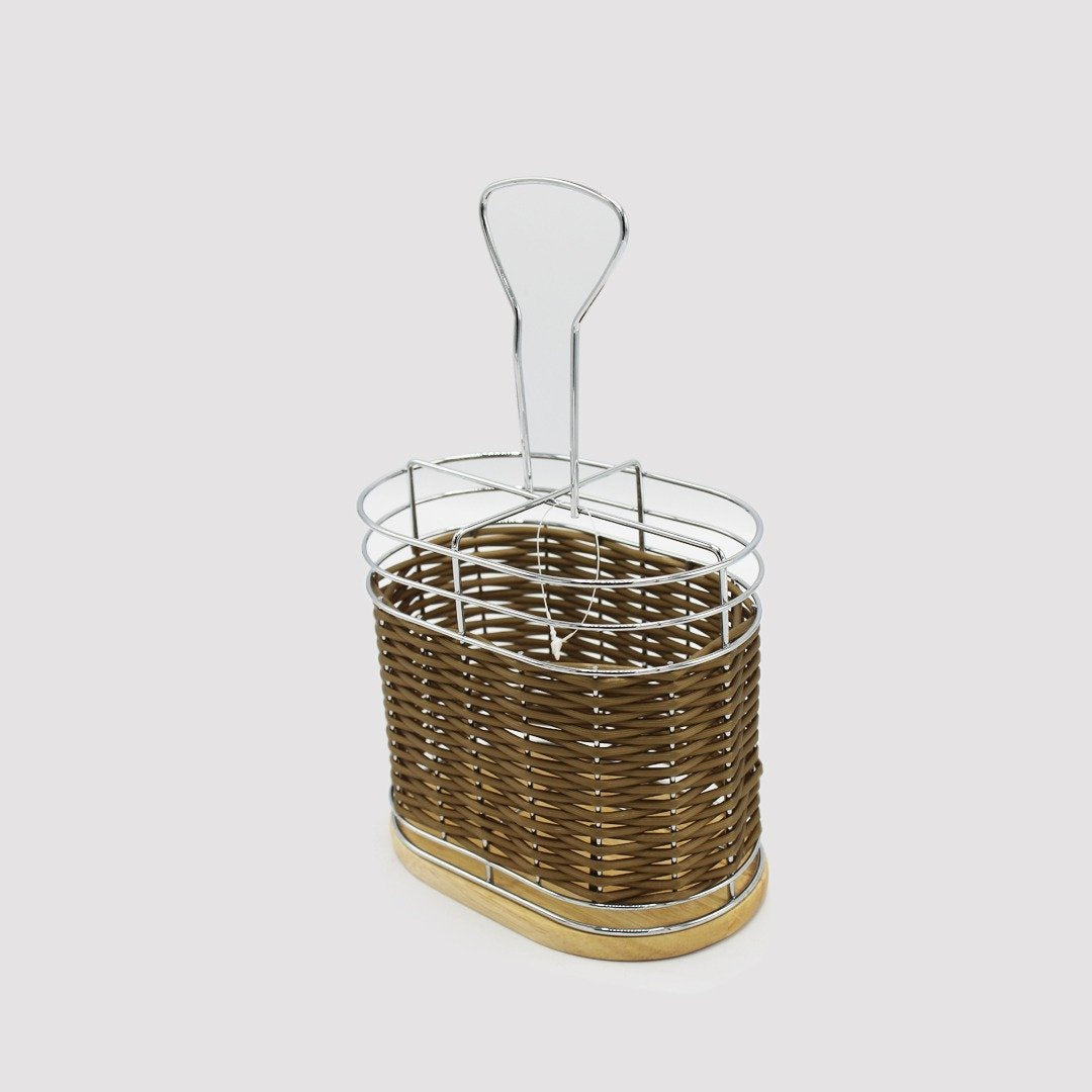 Braided Basket with wooden base - Oval - waseeh.com