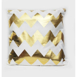 Geometry - Golden Printed Cushion Cover - waseeh.com
