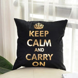 Keep calm and carry on - Golden Printed Cushion Cover - waseeh.com
