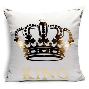Crown - Golden Printed Cushion Cover - waseeh.com