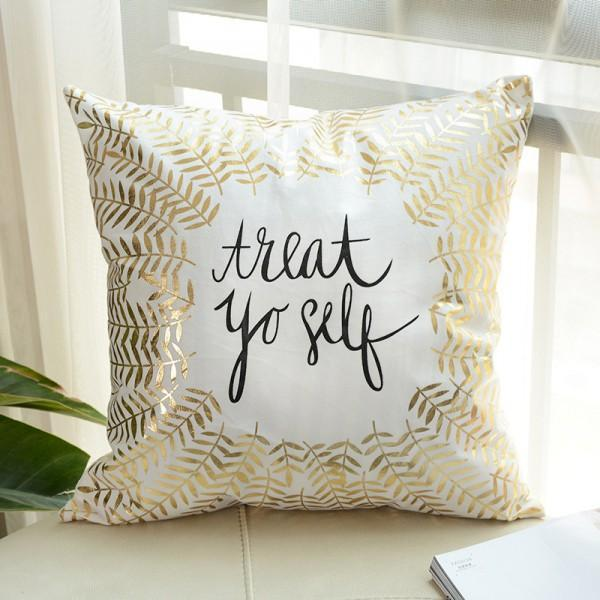 Treat Yourself - Golden Printed Cushion Cover - waseeh.com