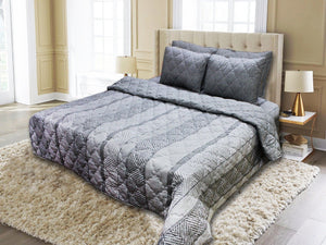 Export Quality Cotton Bed Spread Set - 2 pcs - Gray Lined - waseeh.com