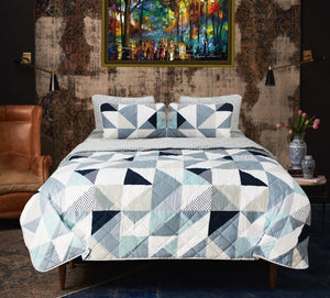 Blue Geometric - Export Quality Bed Spread Set - 6 pc - waseeh.com