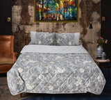 Gray Patterned - Export Quality Bed Spread Set - 6 pc - waseeh.com