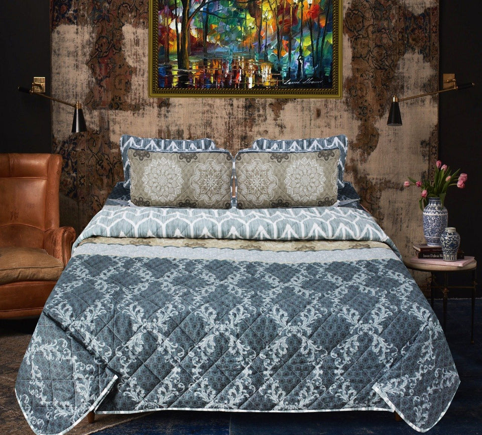 Blue Patterned - Export Quality Bed Spread Set - 6 pc - waseeh.com