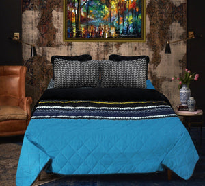 Blue Lined - Export Quality Bed Spread Set - 6 pc - waseeh.com