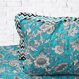Blue Floral - Cotton Bed Spread Set - 6 pc - waseeh.com